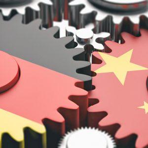 Zahnräder mit Flaggen Deutschland China